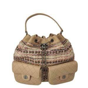 Chanel Beige Tweed Gabrielle Backpack
