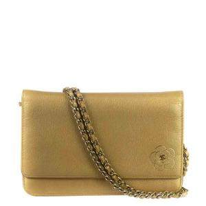 Chanel Gold Camelia Leather Wallet On Chain Bag
