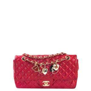 Chanel Red Quilted Leather Small Valentine Charm Single Flap Bag