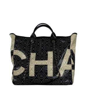 Chanel Black Deauville Coated Canvas Camellia Large Shopping Tote Bag