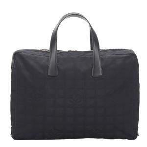 Chanel Black Jacquard Travel Ligne Laptop Bag