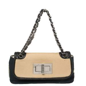 Chanel Tri Color Canvas and Leather No.5 Giant Mademoiselle Lock Flap Bag