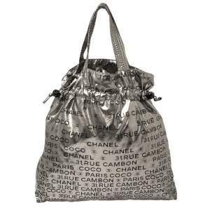 Chanel Silver Nylon 31 Rue Cambon Graphic Drawstring Tote