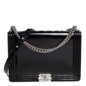 Chanel Black Smooth Leather Large Boy Flap Bag