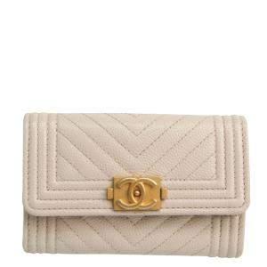 Chanel Beige Leather  Boy Wallet