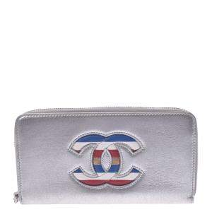 Chanel Silver Leather CC Wallet
