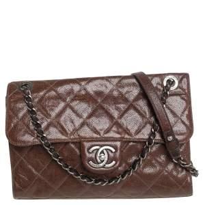 Chanel Dark Brown Caviar Leather Single Flap Bag