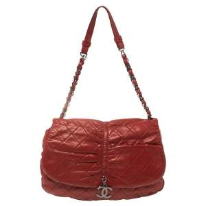 Chanel Red Quilted Leather CC Flap Shoulder Bag
