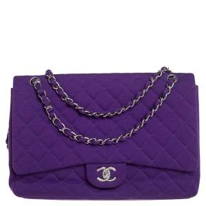 Chanel Purple Quilted Jersey Maxi Classic Single Flap Bag