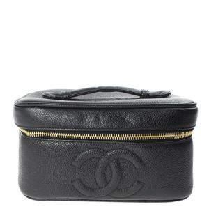 Chanel Black Leather CC Vanity Bag