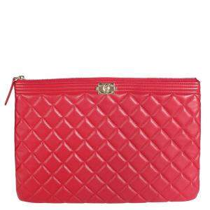 Chanel Red Quilted Lambskin Leather Large O-Case