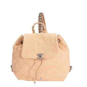 Chanel Beige Quilted Leather Braided with Style Backpack