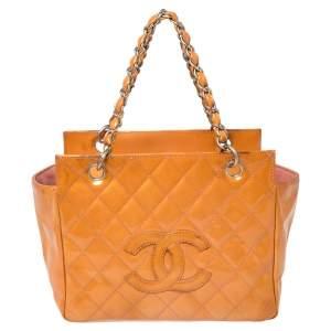 """حقيبة يد شانيل """"بيتيت تايمليس شوبر"""" جلد لامع مبطن برتقالي"""