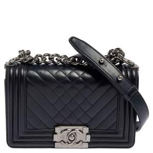 Chanel Blue Quilted Leather Small Boy Flap Bag
