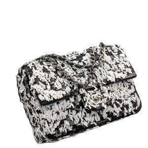 Chanel White/Black Sequin Limited Edition Flap bag
