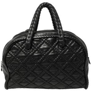 Chanel Black Quilted Soft Leather Hidden Chain Bowler Bag