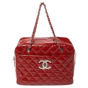 Chanel Red Quilted Patent Leather CC Bowler Bag