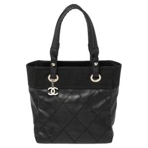 Chanel Black Quilted Coated Canvas and Canvas Paris Biarritz Tote