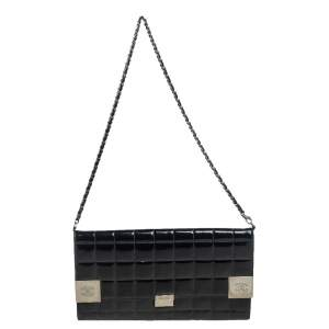 Chanel Black Quilted Patent Leather Chocolate Bar Chain Clutch