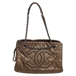 Chanel Bronze Quilted Caviar Leather CC Timeless Soft Tote