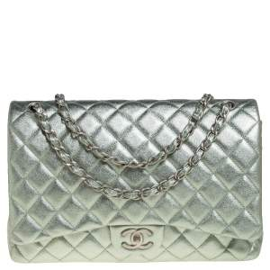 Chanel Metallic Mint Green Quilted Leather Maxi Classic Double Flap Bag