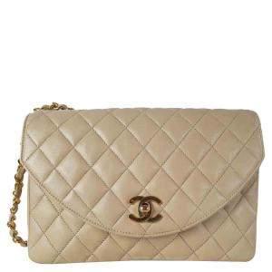 Chanel Beige Leather Vintage Flap Bag