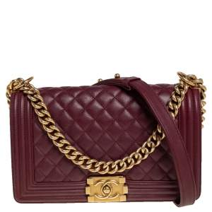 Chanel Maroon Quilted Leather Medium Boy Bag