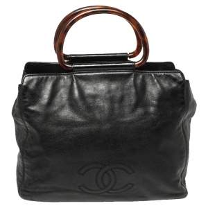 Chanel Black Soft Leather CC Tortoise Ring Handle Tote
