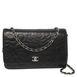 محفظة شانيل جلد كاميليا أسود بسلسلة