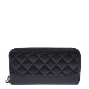 Chanel Black Leather Gabrielle Zip Around Wallet