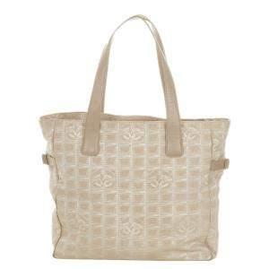 Chanel Beige Travel Line Canvas Tote Bag