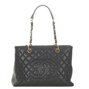 Chanel Black Caviar Leather Grand Shopping Tote Bag