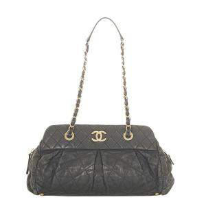 Chanel Black Quilted Iridescent Calfskin Leather Chic Quilt Bowling Bag