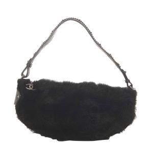 Chanel Black Fur Vintage CC Shoulder Bag