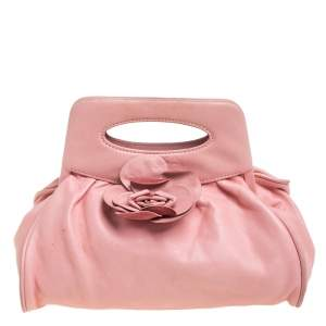 Chanel Pink Leather Camellia Frame Clutch