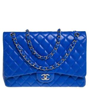 Chanel Blue Quilted Lambskin Leather Maxi Classic Single Flap Bag