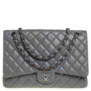 Chanel Grey Quilted Lambskin Leather Maxi Classic Single Flap Bag