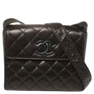 Chanel Brown Quilted Leather Messenger Bag