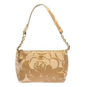 Chanel Gold Camellia Print Raffia Shoulder Bag