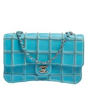 Chanel Blue Leather Vintage Reverse Stitch Flap Bag