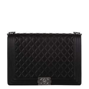 Chanel Black Lambskin Leather Boy Large Flap Bag