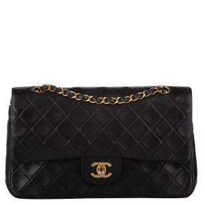 Chanel Black Lambskin Leather Classic Medium Double Flap Bag
