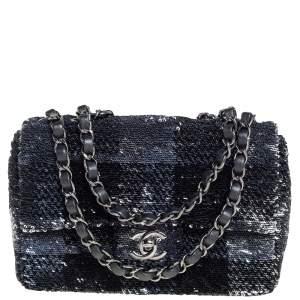 Chanel Black/Navy Blue Sequins Flap Bag