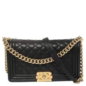 Chanel Black Quilted Cavair Leather Medium Boy Bag