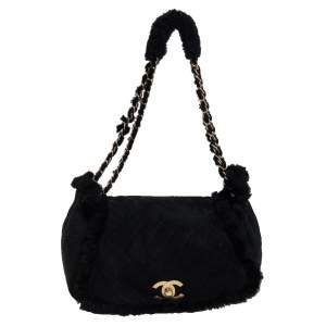 Chanel Black Quilted Nubuck and Shearling CC Flap Bag