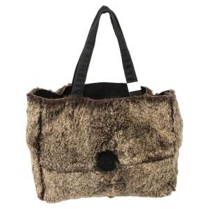 Chanel Brown/Black Rabbit Fur and Suede Vintage Tote
