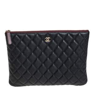 Chanel Black Quilted Caviar Leather Medium O Case Clutch