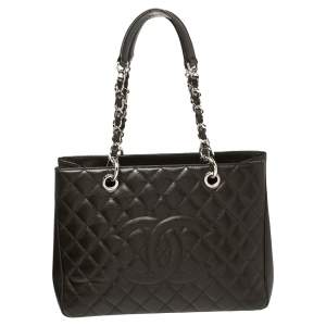 Chanel Dark Brown Quilted Caviar Leather Grand Shopping Tote