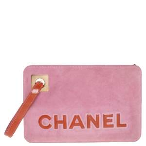 Chanel Pink/Brown Suede and Patent Leather Camellia Wristlet Clutch