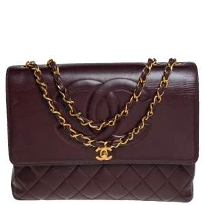 Chanel Burgundy Quilted Leather Vintage CC Flap Bag